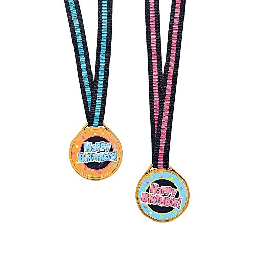 Fun Express - Happy Birthday Medals for Birthday - Stationery - Awards - Medals - Birthday - 12 Pieces