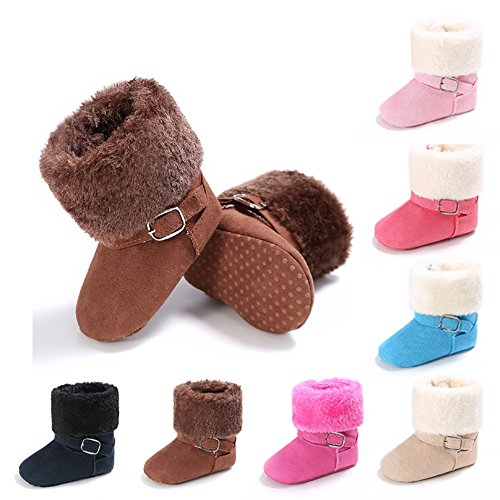 Baby Soft Sole Snow Crib Shoes Toddler Boots Brown - 9
