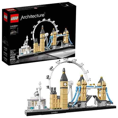 LEGO Architecture London Skyline Collection 21034 Building Set Model Kit and Gift for Kids and Adults (468 pieces) (Ferris Wheel Lego)