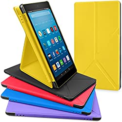 All-New Amazon Fire HD 8 Tablet Case, DTTO Slim-Fit Transformable Multi-Angle Stand Cover Case for Amazon Fire HD 8 (7th Generation, 2017 Released only) with Auto Sleep/Wake, Bright Yellow