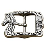 LINSION Antique Horse Floral Rectangular Belt Buckle Sterling Silver 9C010