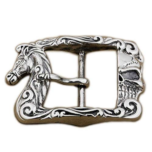 LINSION Antique Horse Floral Rectangular Belt Buckle Sterling Silver 9C010 by LINSION