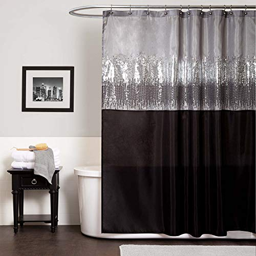 Lush Decor Night Sky Shower Curtain | Sequin Fabric Shimmery Color Block Design for Bathroom, 72