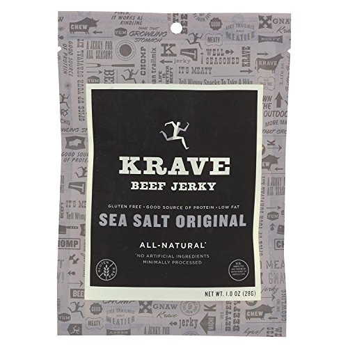 KRAVE, Beef Jerky, Sea Salt Original, Pack of 18, Size 1 OZ, (Dairy Free Gluten Free Wheat Free) 1 Oz Beef Jerky