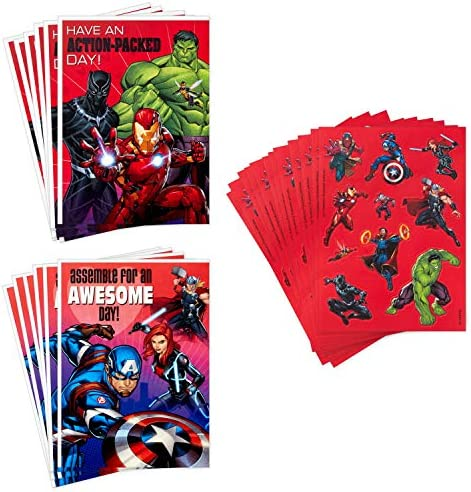 Hallmark Kids Avengers Valentines Day Cards and Stickers Assortment (12 Cards with Envelopes)