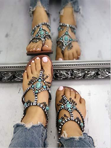 Minetom Marron Femmes Plage Vintage Plate Talon Été Flip Peep Flops Bohême Pantoufles Perlé Toe à De Clip Chaussures Boho Tongs Sandales Strass rrdwS1F