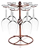 JM-capricorns Classic Elegant Bronze Metal Wine Glass Rack, Air Dry System Cups Holder Display Stand, Hold 6 Wine Glasses - Bronze