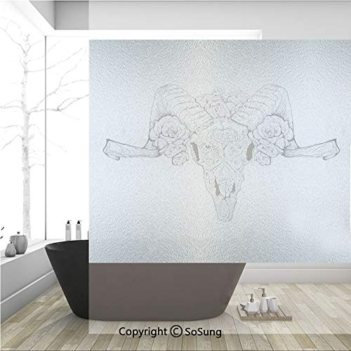 3D Decorative Privacy Window Films,Bones of a Lamb with Rose Flowers Spiritual Oriental Creepy Boho Graphic,No-Glue Self Static Cling Glass Film for Home Bedroom Bathroom Kitchen Office 36x36 Inch ()