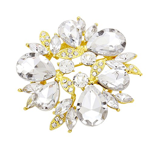 Rosemarie Collections Women's Sparkling Rhinestone Wreath Statement Brooch Pin (Bright Gold and Clear) Round Wreath Pin