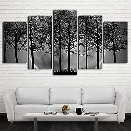 Rqmqrl Peinture Art Imprimer 5 Morceau Pcs Noir Blanc Gris