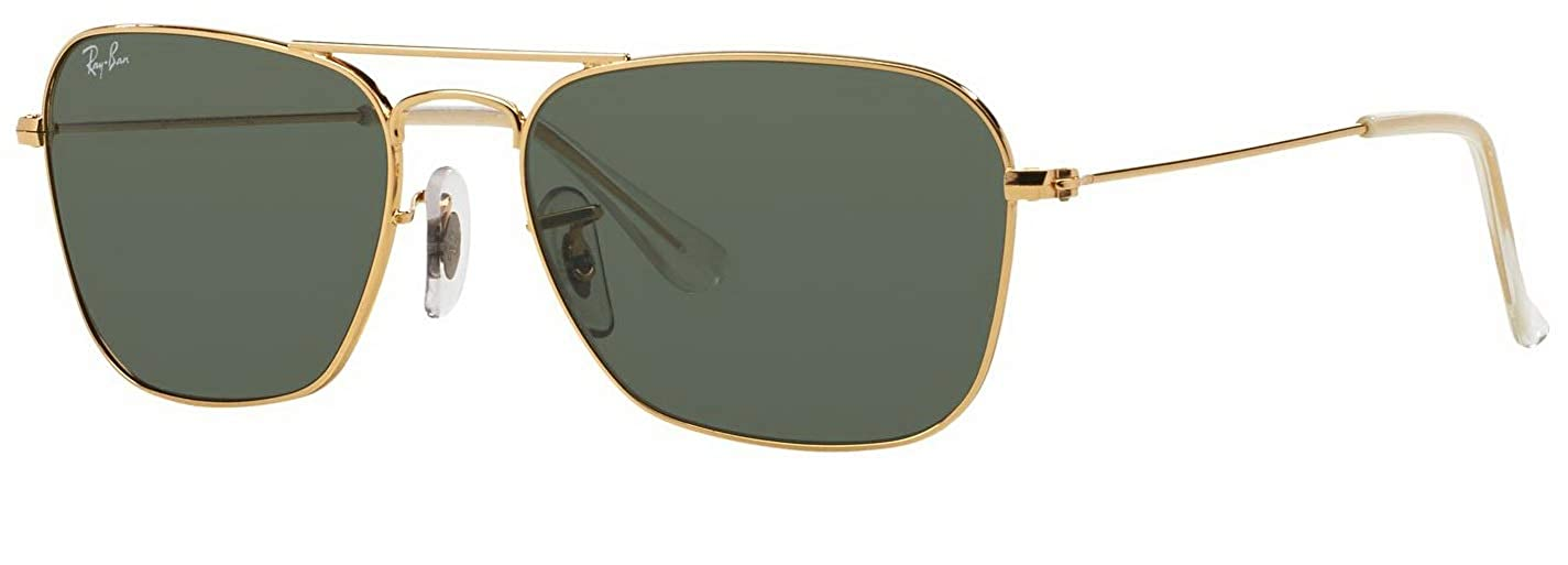 8e56f7e893bea Amazon.com  Ray-Ban RB3136 001 Caravan Sunglasses Gold Frame   Green  Classic Lens 58mm  Clothing