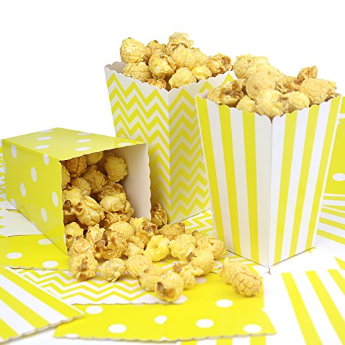 Simla Decor 36pcs Yellow Popcorn Favor Boxes for Party Movie Theater - Chevron Stripe and Polka Dot Popcorn bags by Simla Decor