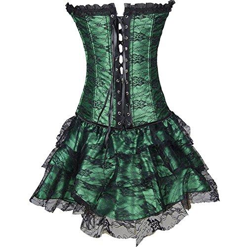 Czj-Innovation De las mujeres Gótico Sin tirantes Corsé con Vestido de encaje Verde