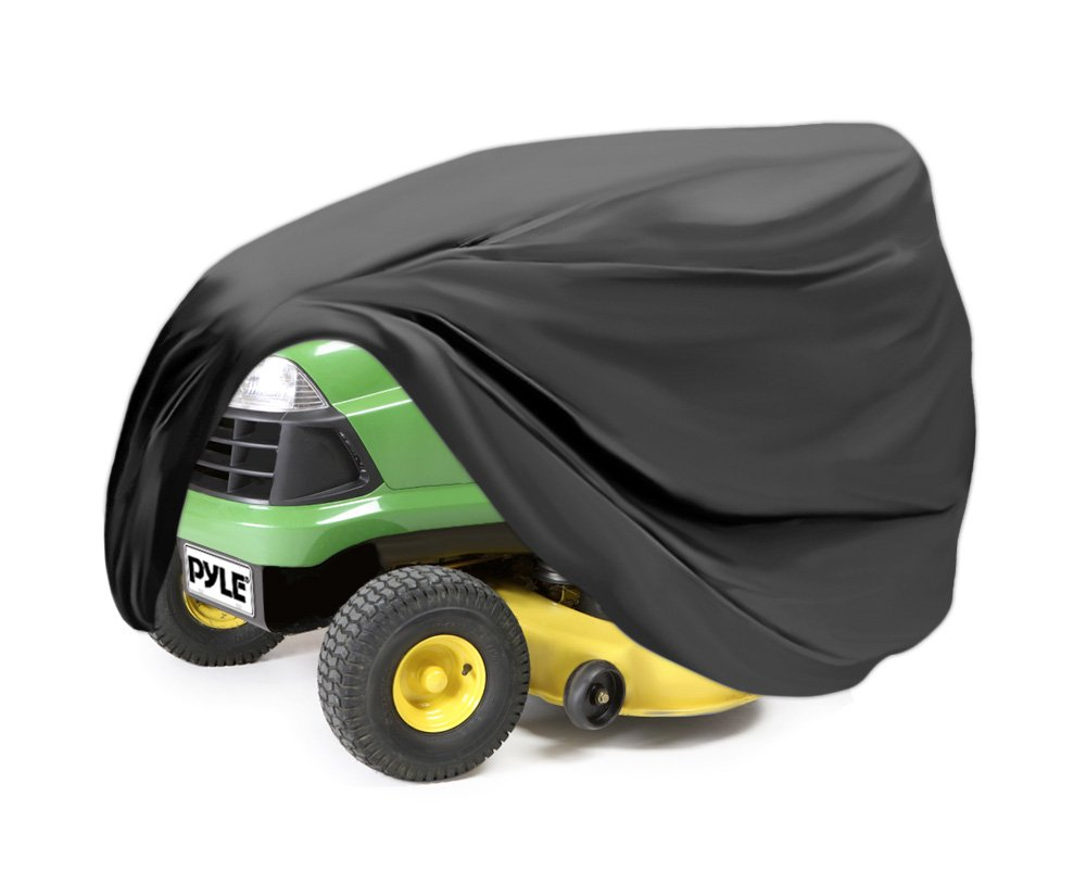 Pyle Universal Lawn Mower Cover - Armor Shield Waterproof Marine Grade Canvas, Weather Resistant with Mildew and Dust Protection - Indoor and Outdoor Protective Storage for Tractor - PCVDT45