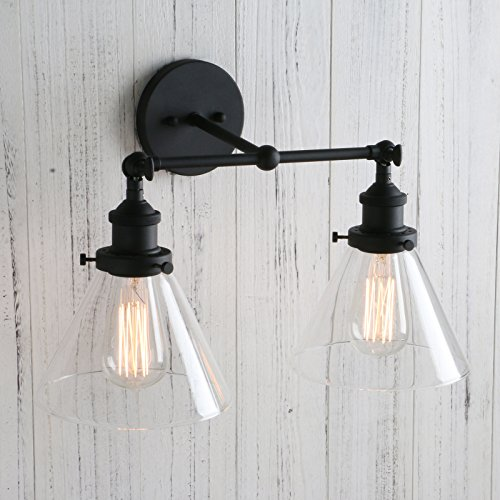 Permo Vintage Industrial Antique 2-Lights Wall Sconces with Dual Funnel Clear Glass Shade (Black) by PERMO (Image #4)