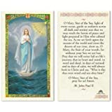 Our Lady Star of the Seas Stella Maris Blessed Laminated Italian Holy card with Gold Accents