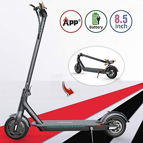 TOMOLOO L1 Electric Scooter with Foldable Design, 18.6 Miles Long-Range, Up to 15.5 MPH, Portable and Foldable E-Scooter with 8.5' Air Filled Tires, Cruise Control, Headlight, Includes Speedometer