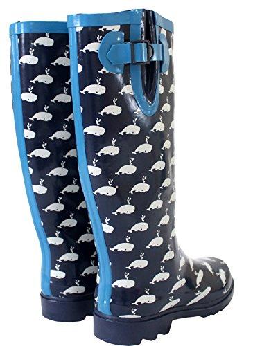 Ladies Womens Wide Calf Adjustable Snow Rain Mud Festival Waterproof Wellington Boots Wellies UK 3-8 (Maximum Calf Width 42 cm) Whale Navy/White 3vc9m