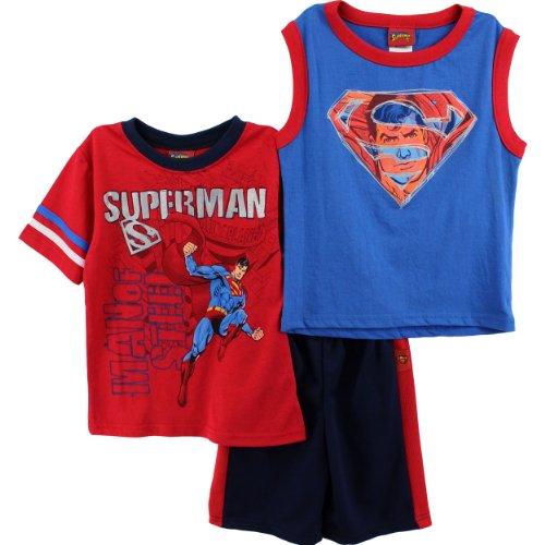 Superman Boys Red 3pc Top Shorts Set 4WB2765C (5)