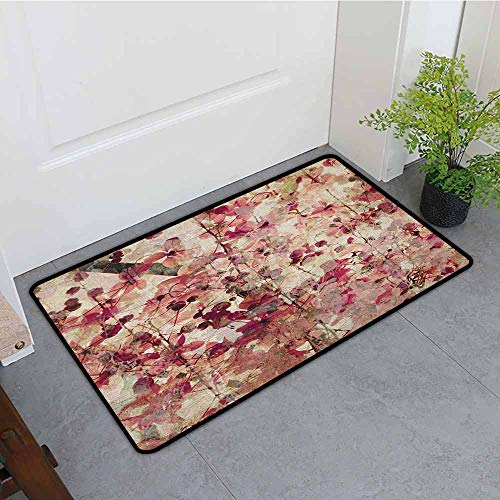 ONECUTE Outdoor Doormat,Antique Grungy Effect Cherry Blossoms on Ribbed Bamboo Retro Background Floral Art Work,Super Absorbs Mud,31