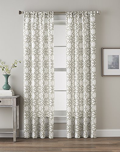 CHF 1Q82450ALE Lotus Harmony Curtain Panel, Linen, 95″ For Sale