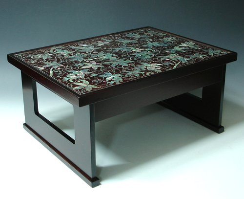 Mother of pearl inlay art lacquer finish grape vine design for Grapes furniture and home decor