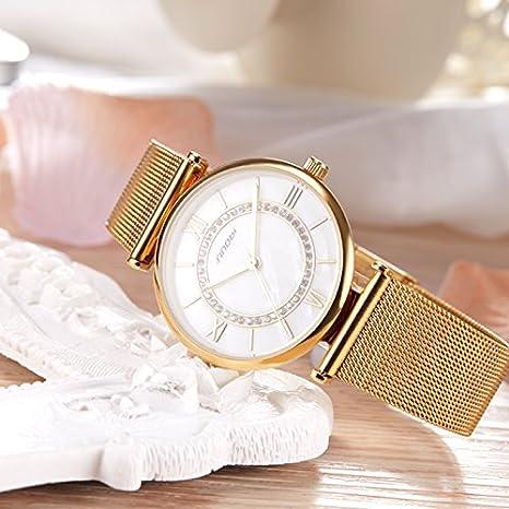 Amazon.com: SINOBI Womens Diamond-Accented Gold-Tone Watch with Mesh Bracelet, Simple Roman Numeral reloj de pulsera: Watches