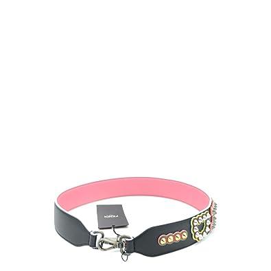 d67cc318 Amazon.com: Fendi Women's Calf-Skin Leather Black and Pink ...