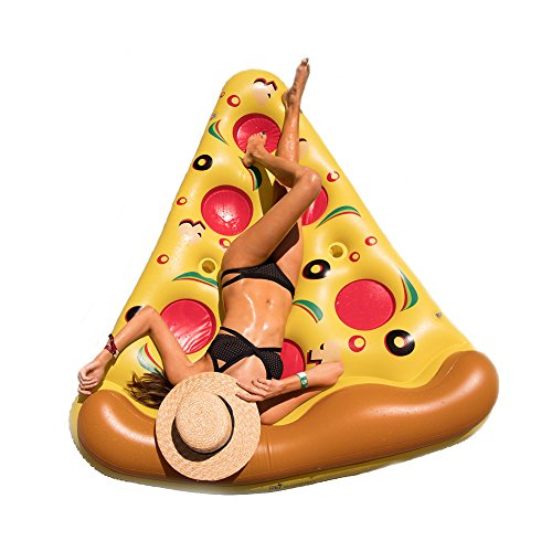 Floatie Kings: Inflatable Pizza Pool Float, Extra Large with Cup Holders (Inflatables, Floats (Extra Large Inflatable Pool)