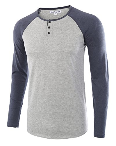 (HARBETH Men's Casual Long Sleeve Henley Shirt Raglan Fit Baseball T-Shirts Tee H.Gray/C.Blue XL)