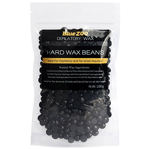 Hard Wax Beans No Strip Hair Removal Hot Film Depilatory Pearl Pellet 100g for Body Face Bikini Underarm (Black)