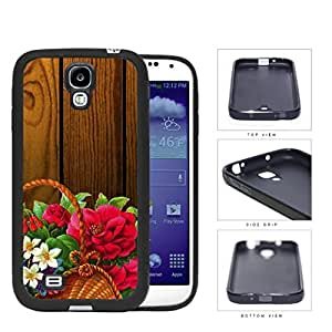 Beautiful Art Flower Painting in Basket with Wood Background Hard Rubber TPU Phone Case Cover Samsung Galaxy S4 I9500