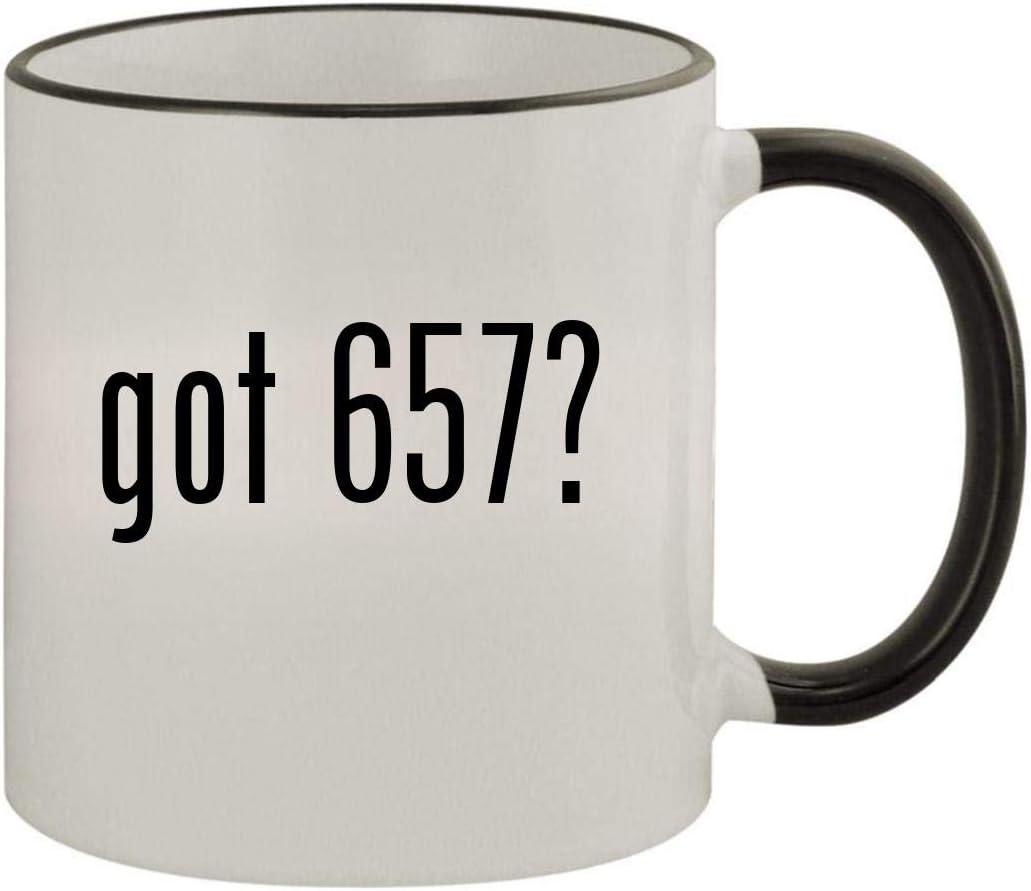 got 657? - 11oz Ceramic Colored Rim & Handle Coffee Mug, Black