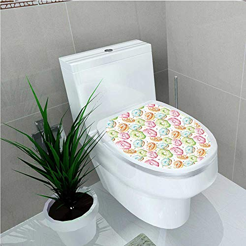 - aolankaili Decoration Bathroom Toilet Cover Sticker Watercolor Pattern with Doughnuts Hand Drawn Yummy Tasty Pastries Bakery Multicolor W15 x L17
