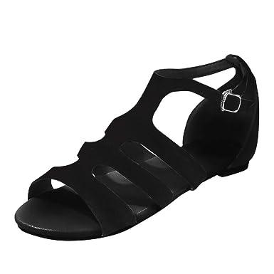 69665ce2b Orangeskycn Women Sandals Plus Size Ladies Leopard Print Hollow Buckle  Strap Flat Sandals Retro Roman Casual