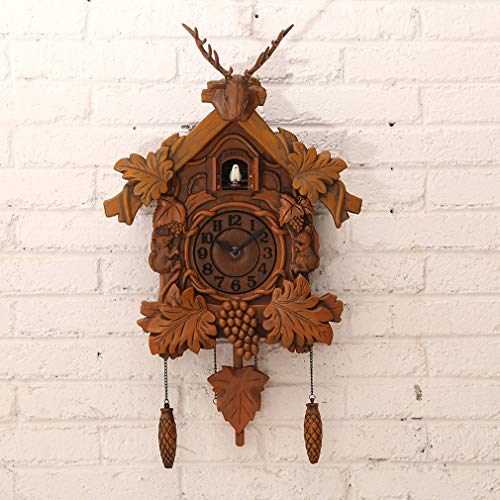 HYYQG Vintage Wall Clock,Cuckoo Art Fashion European Deer Head Swing Handcraft Quartz Movement Cuckoo Music Time Decoration Gift Children's Bedroom Home Restaurant Living Room