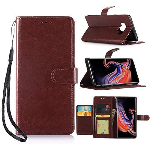 Galaxy Note 9 Case, Galaxy Note 9 Wallet Case, Dooge [5 ID Credit Card Slot] Double Folio Flip Premium PU Leather Protective Case with Magnetic Viewing Stand Wrist Strap for Samsung Galaxy Note 9 -