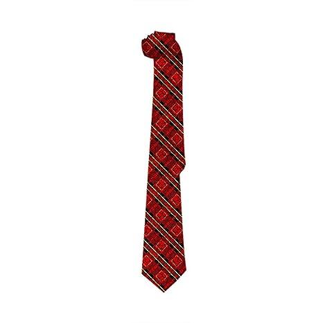 Novedad corbata a cuadros, flaco tejido jaula escocesa rojo celta ...
