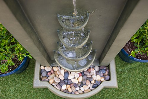 Kenroy Home 51021MS Cathedral Indoor/Outdoor Floor Fountain, 44 Inch Height, Moss Stone - DIMENSIONS: 44 inch Height, 20 inch width, 12 inch Extension LED LIGHTS: Outfitted with energy efficient and long-lasting LED bulbs perfect for creating shimmering water effects WATERPROOF LIGHT SWITCH: Using separate power solutions for both the pump and light kit allows for the independent  operation  of the pump and light - patio, outdoor-decor, fountains - 51md%2BWWL PL -