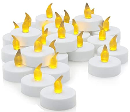 Ideal Products 30 Velas LED con Efecto Parpadeante de romántica luz Amarilla. Nunca se apagan y no Hacen Humo. Especiales para Decoración, Fiestas y ...