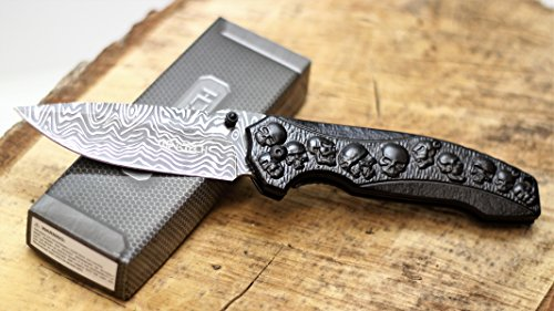 Wartech Thumb Open Spring Assisted Skull Titanium Handle, Etched Damascus Wave Blade Pocket Knife (PWT242BK)