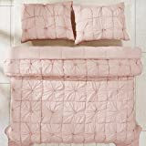2 Piece Girls Pink Pinch Pleated Floral Pattern Quilt Twin Set, Beautiful Plush Pintuck Puckered Hand-Turned Knots Design, Elegant Shabby Chic Casual Style Bedding, Splash Light Blush Color, Cotton