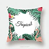 Custom Satin Pillowcase Protector Exotic Tropical Jungle Rain Forest Bright Green Palm Tree And Monstera Leaves Pink Flamingo Birds 606491324 Pillow Case Covers Decorative