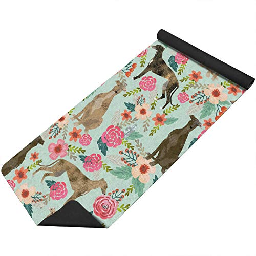 1.5mm Tall Long Brindle Dog And Florals Thin Soft Non Slip Eco Friendly Home Travel Comfortable Durable Natural Rubber Exercise Fitness Floor Pilates Bikram Fun Hot Yoga Mat For Workout Practice ()
