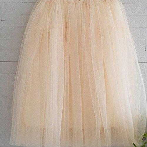 Dearlly Summer Long Tulle Skirt Women High Waist Maxi Skirts Female Tutu Skirt Girl Black Cotton Saia Femininas Jupe 50 Beige One Size]()