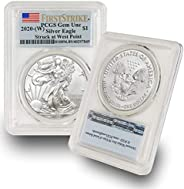 2020 (W) 1 oz American Silver Eagle Coin Gem Uncirculated (Struck at West Point - Flag Label) by CoinFolio $1