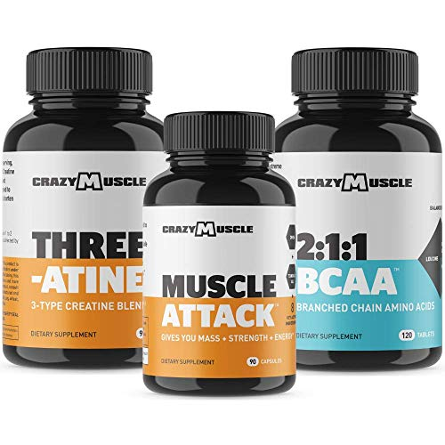 Bundle for Building Bulk Muscle (3 Products Included) - Creatine + Muscle Attack + BCAA - Stack and Save $6.87!