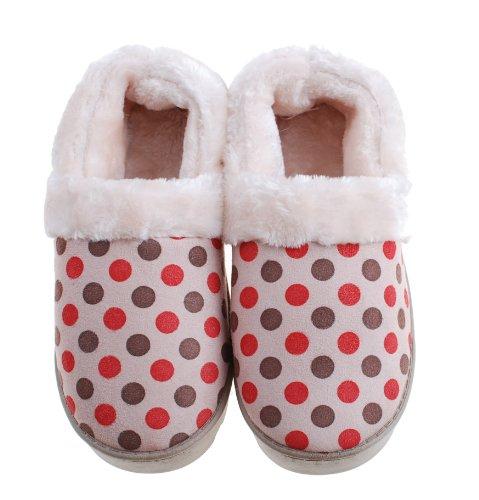 Stiefel Schuhe Damen geschlossene Hausschuhe Plüsch Ferse Herren warm Point Plüsch Damen Rond für Rot Colorfulworldstore Seitennaht Hausschuhe Winter qxa4Ptv