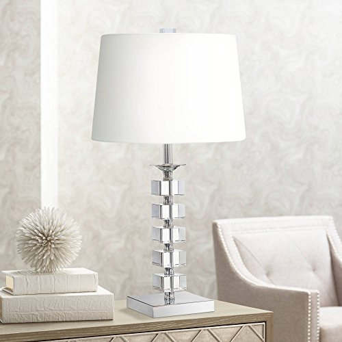 Modern Table Lamp Crystal Glass Stacked Cubes White Fabric Tapered Drum Shade for Living Room Family Bedside - Vienna Full Spectrum (Table Stacked Crystal Lamp)
