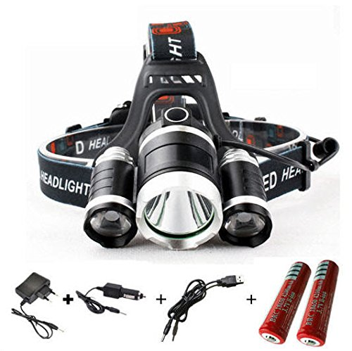 10000LM CREE XML 3T6 LED Headlight Headlamp Head Lamp Light 4-mode 30W 18650 Rechargeable Torch Head + Charger for Fishing Light (4 Expedition Weight Zip)